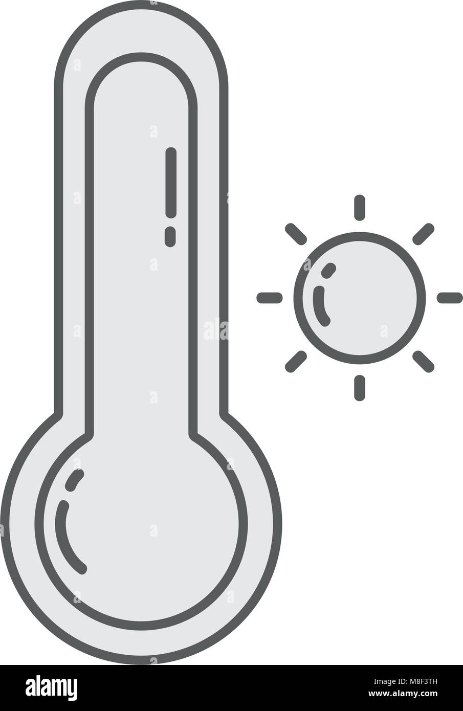 line sun with thermometer and hot weather symbol - Stock Image