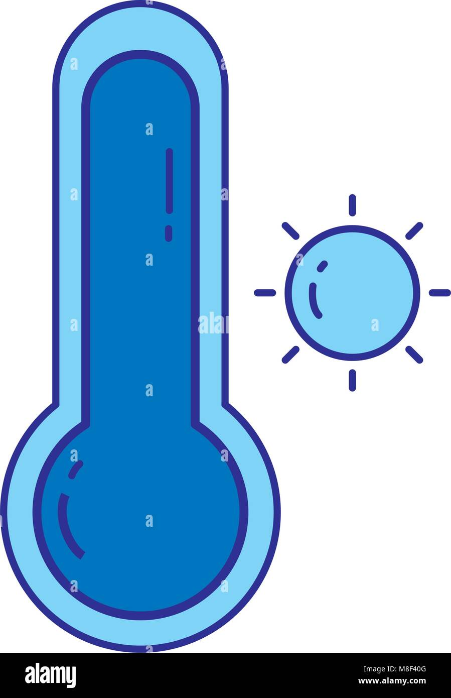 duo color sun with thermometer and hot weather symbol - Stock Image