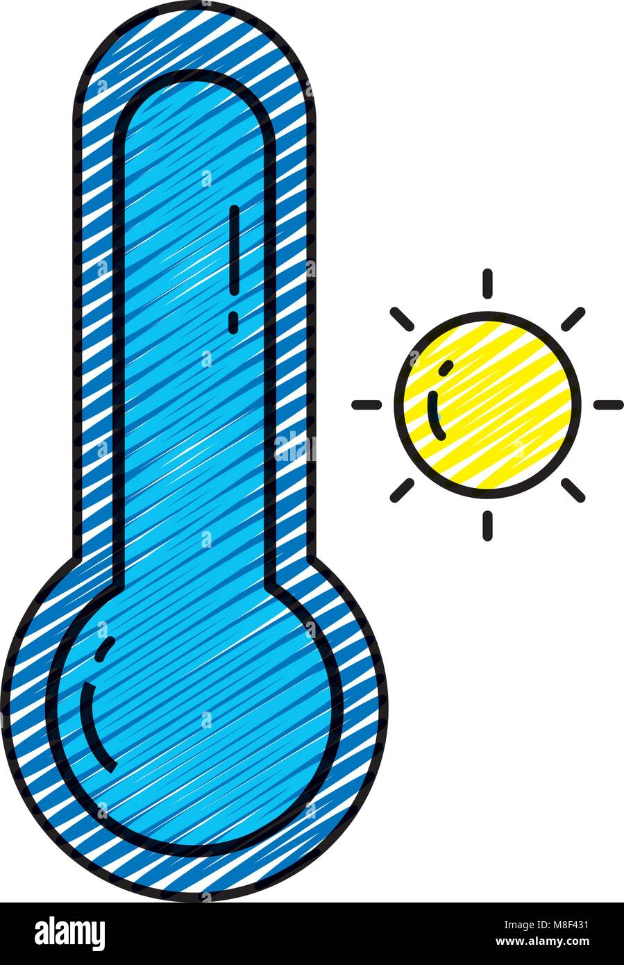 doodle sun with thermometer and hot weather symbol - Stock Image