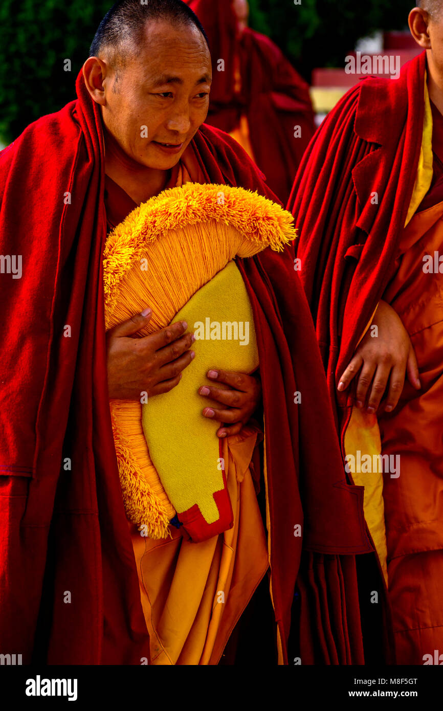 Tibetan Bhudhist Monk with Yellow Hat going for prayer, Gyuto Monastry, Dharmashala, Himachal pradesh, India - Stock Image