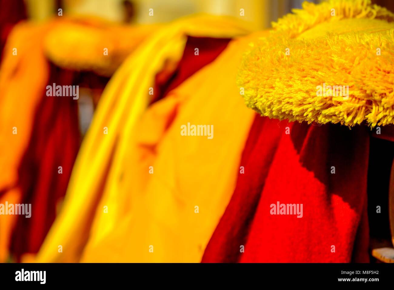 Buddhist superior Monks Clothes Gyuto Monastery Dharmashala Himachal India - Stock Image