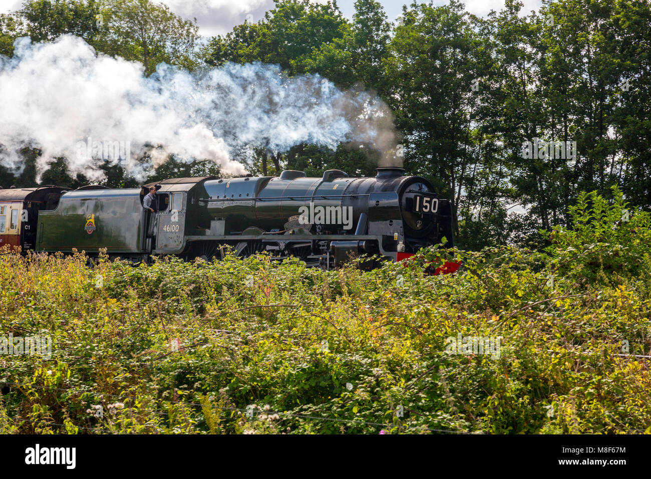 Ex LMS steam engine 46100 'Royal Scot' passes the Norton Fitzwarren Steam Rally heading to Cornwall with - Stock Image
