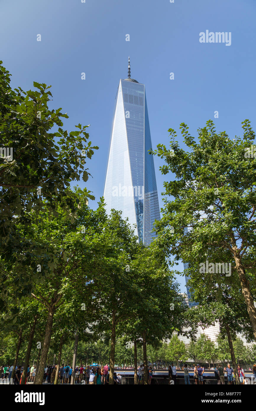 New York, NYC, USA- August 26, 2017: World Trade Center complex and One World Trade Center building also known as - Stock Image