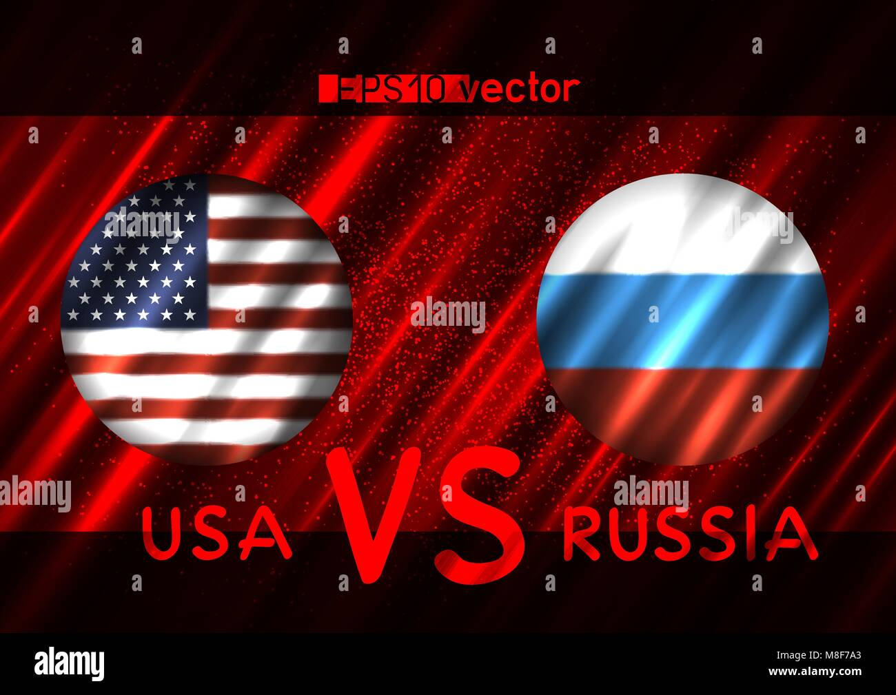 USA VS Russia conflict. Round flags on dark red background. Cold war illustration - Stock Vector