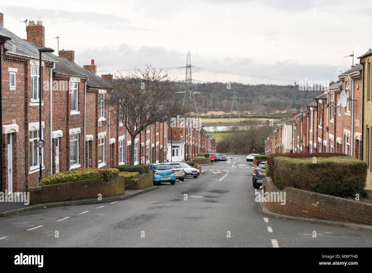 Boyd Street, a row of terraced houses leading down to the river Tyne, Newburn, north east England, UK - Stock Image
