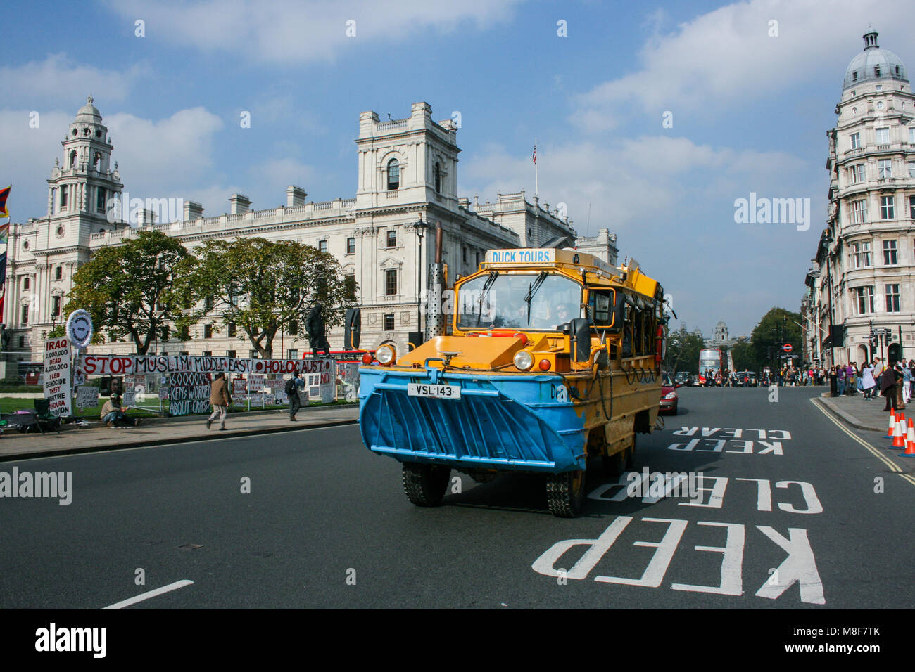 London Duck Tours near the Palace of Westminster, not operating since late 2017 due to Thames Water's construction - Stock Image