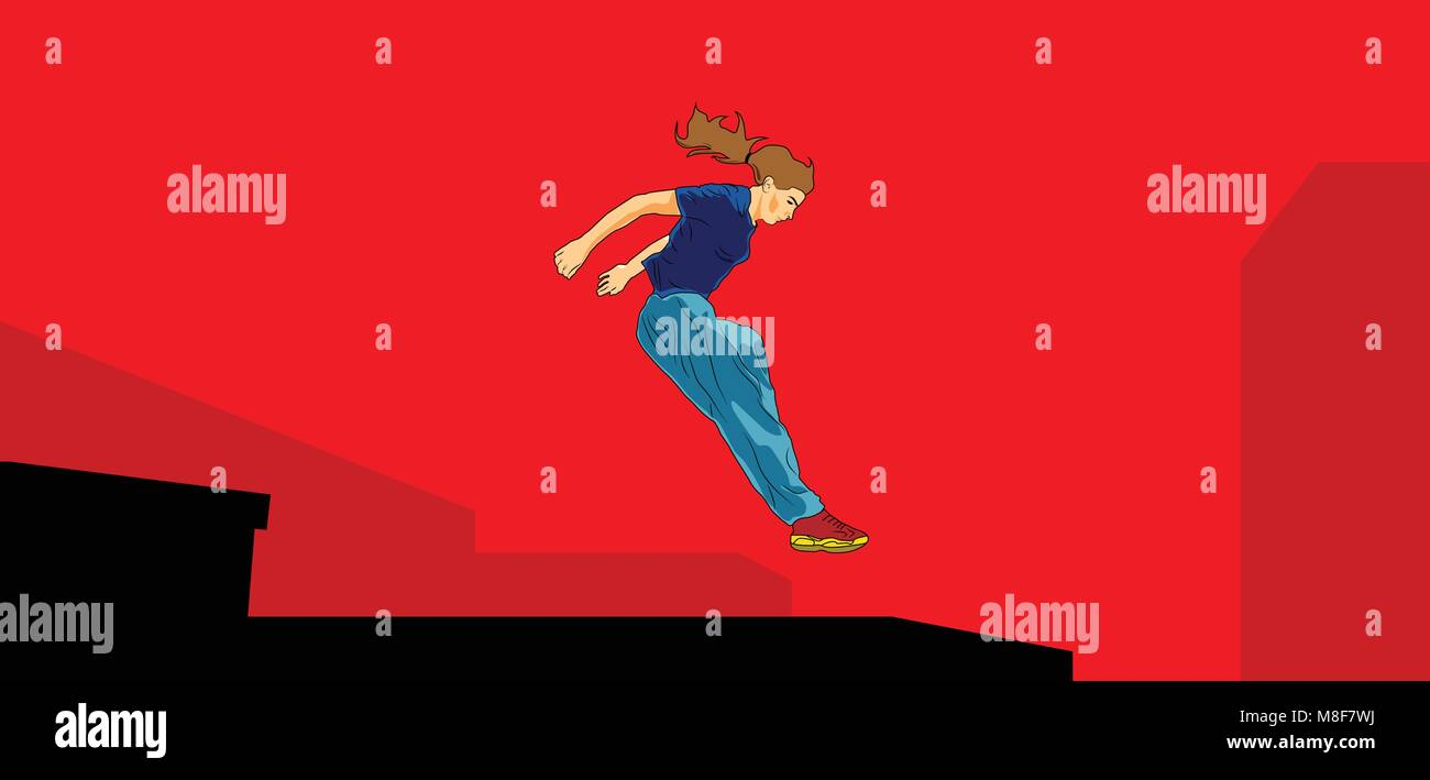 Girl jumping and overcomes obstacles. Parkour. Active lifestyle. Courage and adrenaline. Roofer. Vector illustration - Stock Image