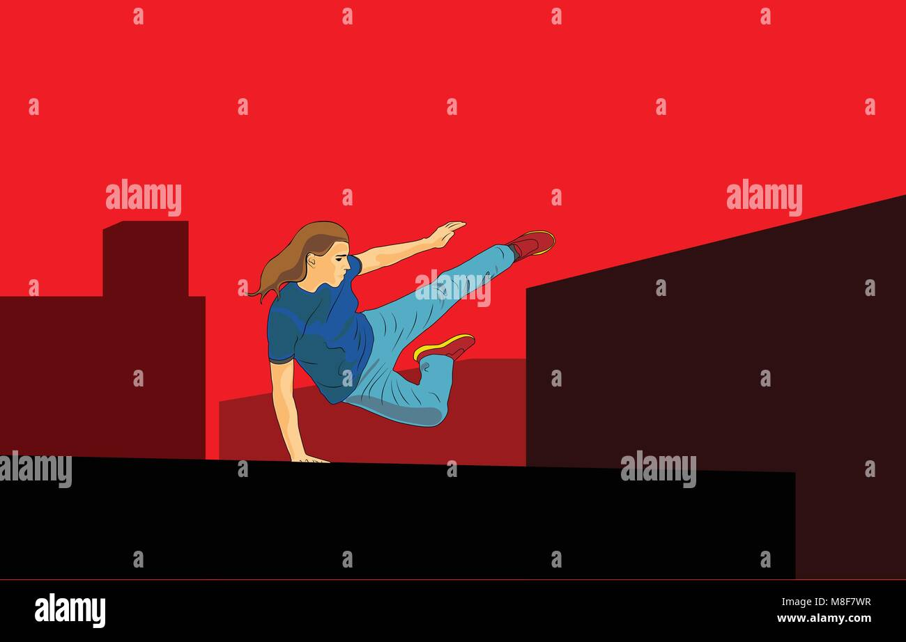 A young girl jumps over an obstacle. Parkour in the city. The concept of a healthy lifestyle. Vector in the style - Stock Image