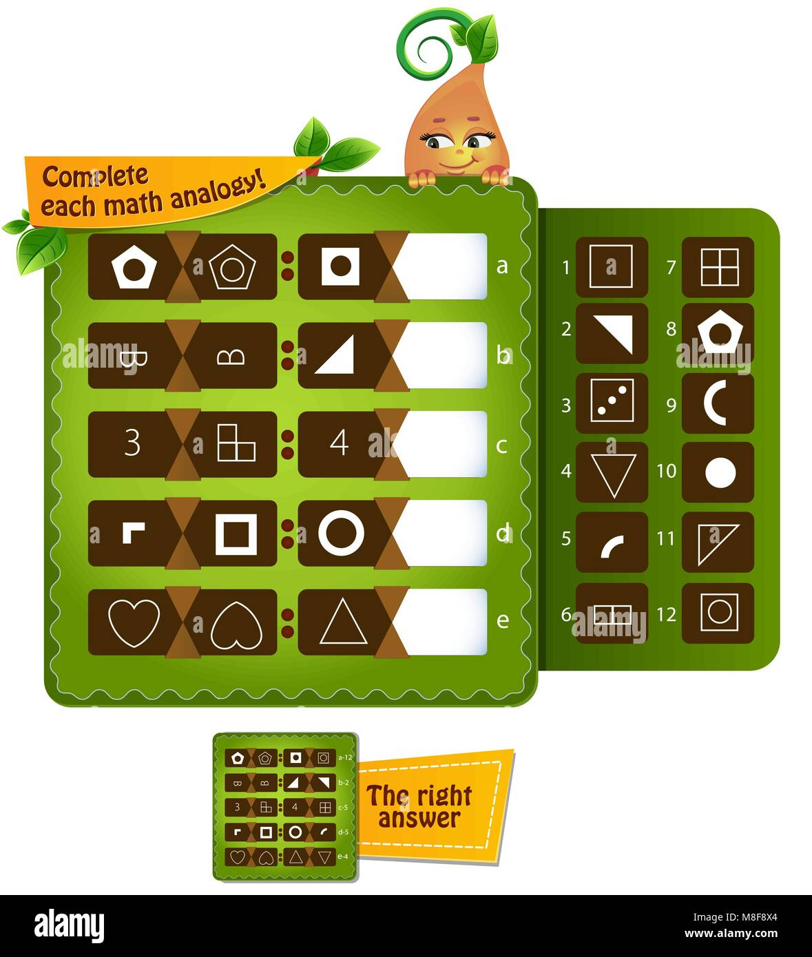educational game for kids and adults development of logic, iq. Complete each math analogy - Stock Image