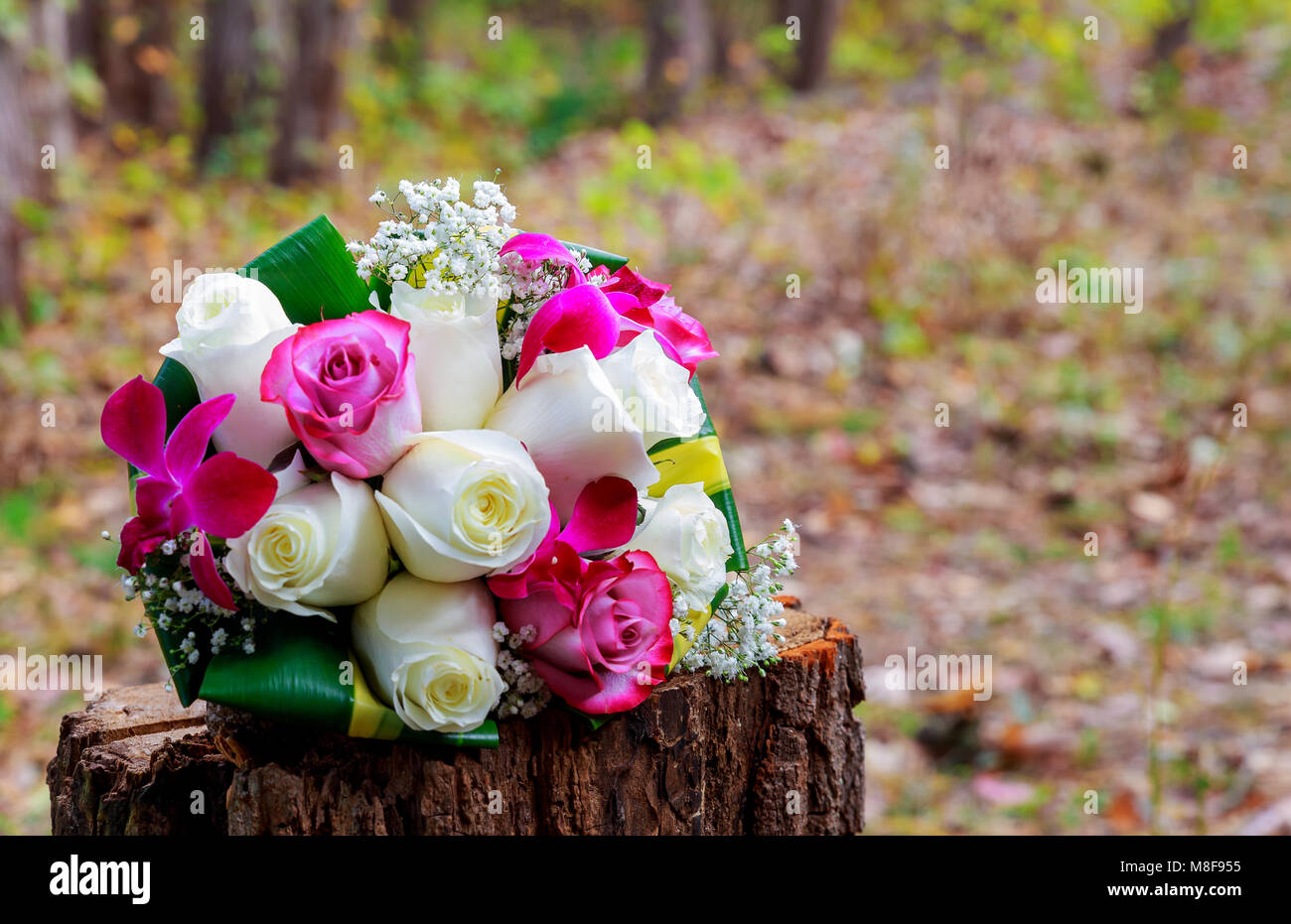 Wedding Bridal Bouquet With White Orchids Roses Daisies And Red