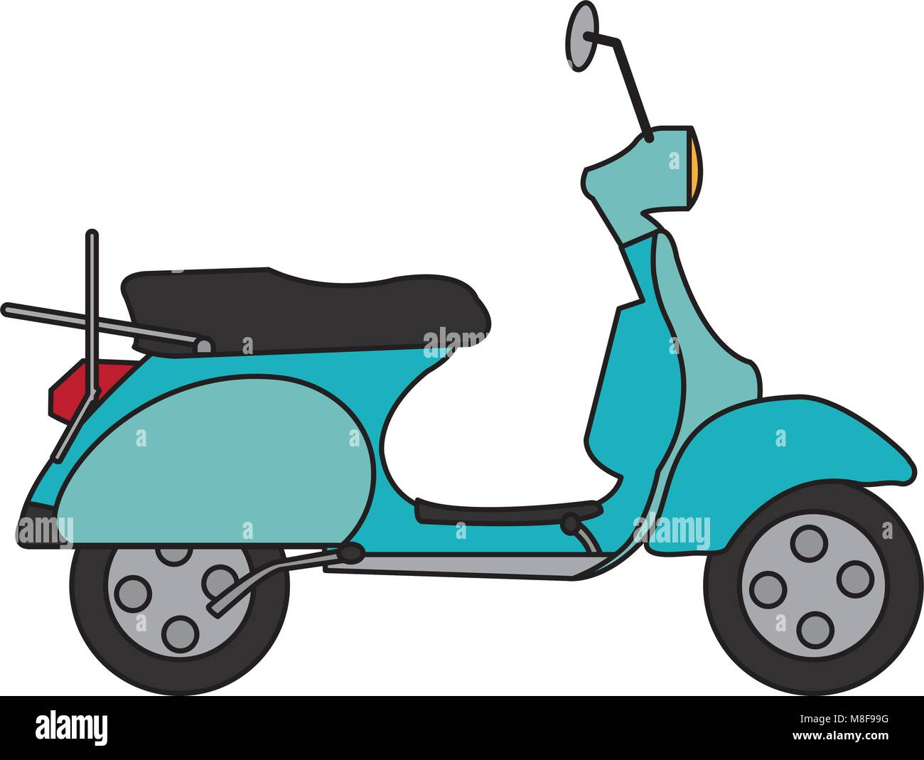 motocycle transportation travel with mirror and wheels - Stock Vector