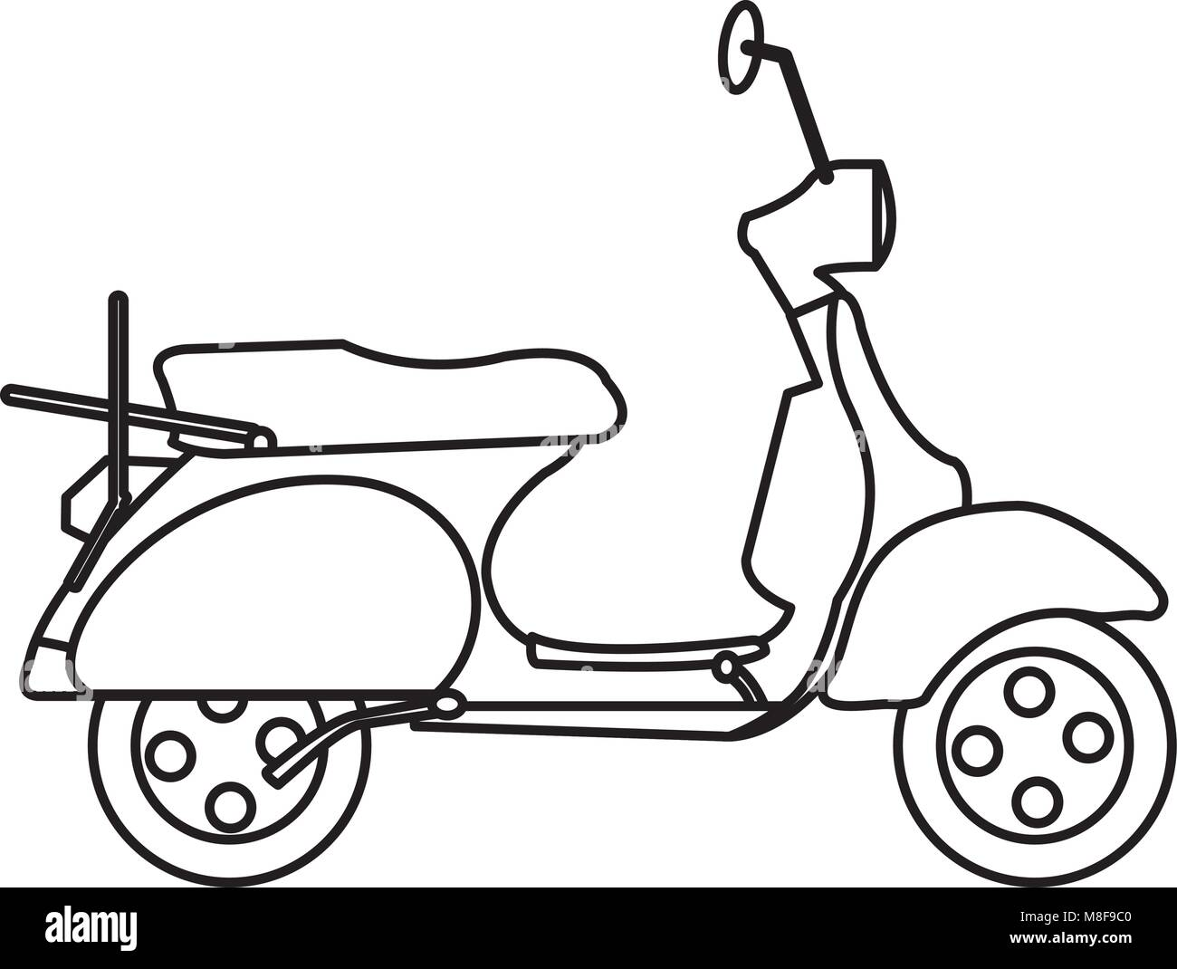 line motocycle transportation travel with mirror and wheels - Stock Vector