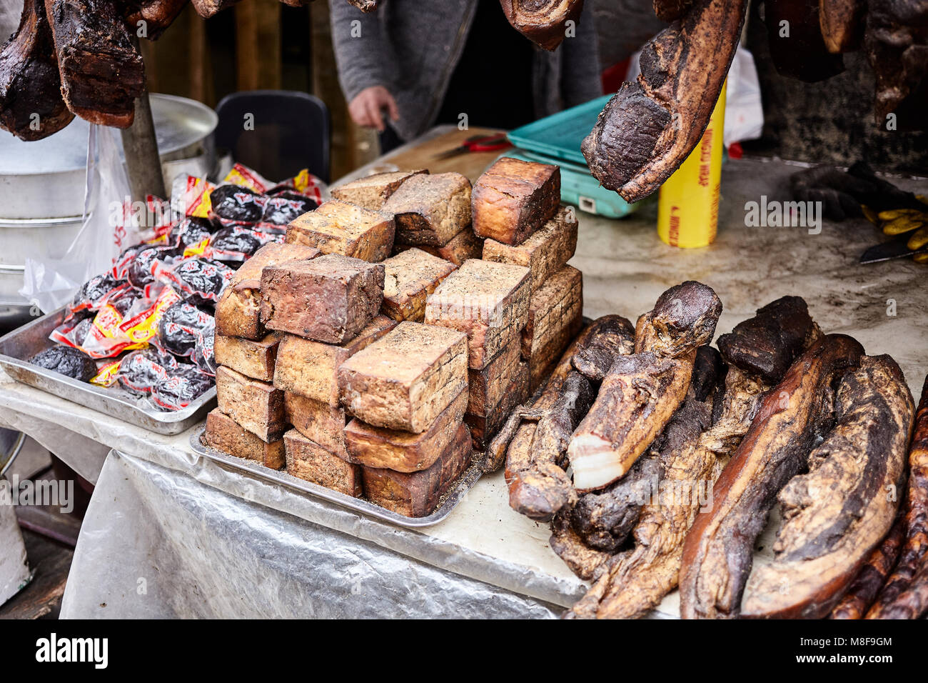 Smoked Tofu and Bacon - Stock Image