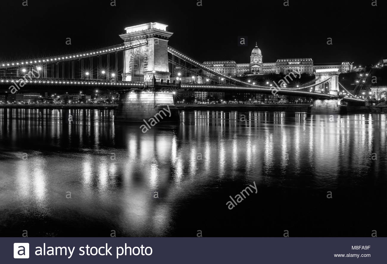 The Szechenyi Chain Bridge,is a suspension bridge that spans over the Danube River in Budapest - Stock Image