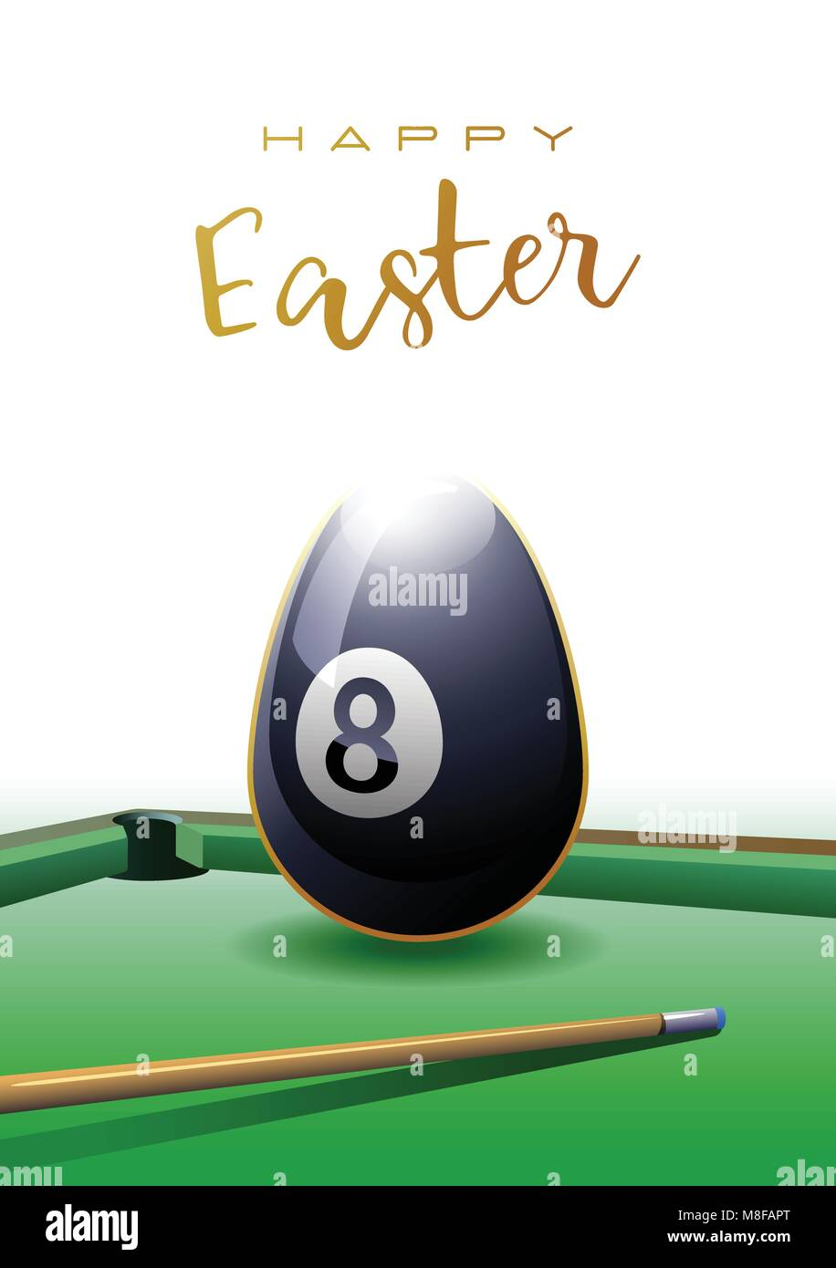 Happy Easter. Sports greeting card. A realistic Easter egg in the shape of a billiard ball. Billiard table and billiard - Stock Image