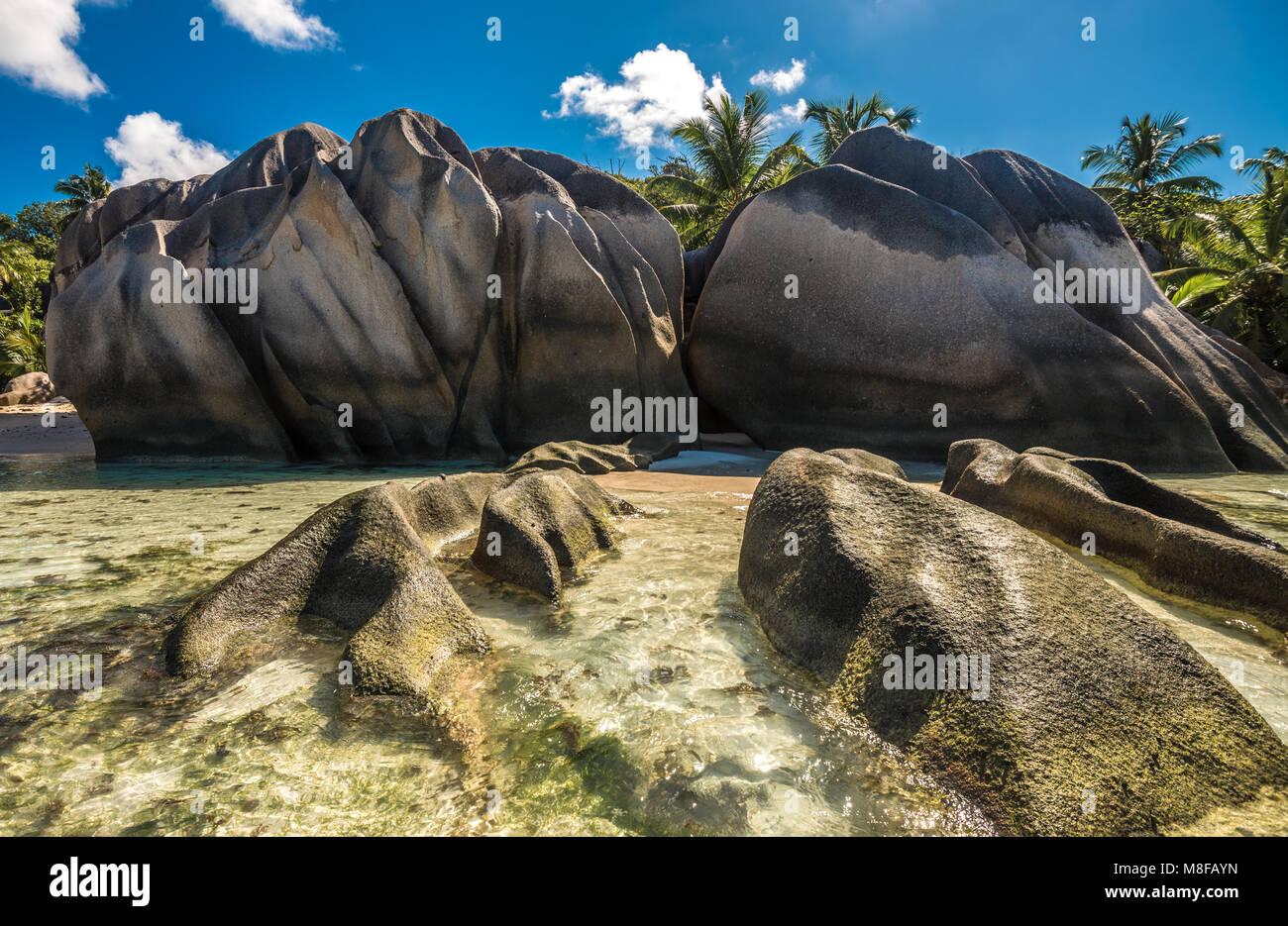 Tropical island beach, Source d'Argent, La Digue, Seychelles - Stock Image