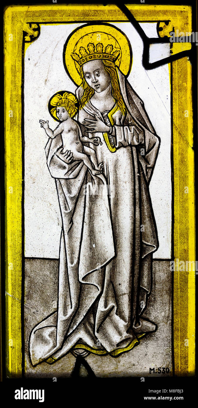 Mary and Child (Maria lactans). Stained glass. Cologne, c. 1500. Germany. Schnütgen Museum. Cologne, Germany. - Stock Image