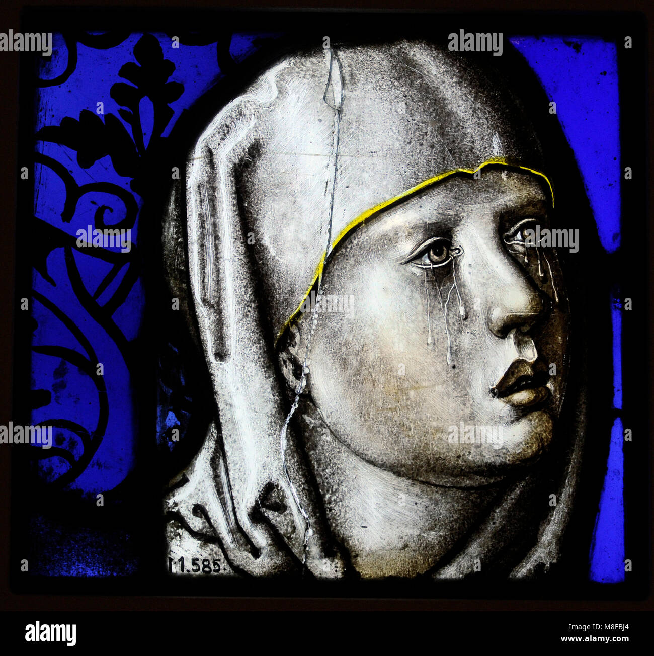 Head of Our Lady of Sorrows. Cologne, 2nd quarter of the 16th century. Stained glass. Schnütgen Museum. Cologne, Stock Photo