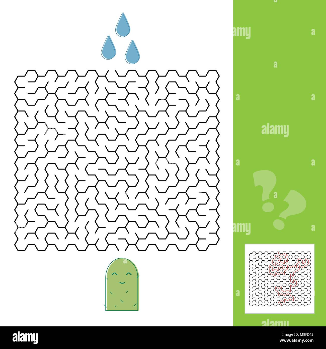 Cactus and water maze game for younger kids with a solution - Vector illustration - line style - Stock Vector