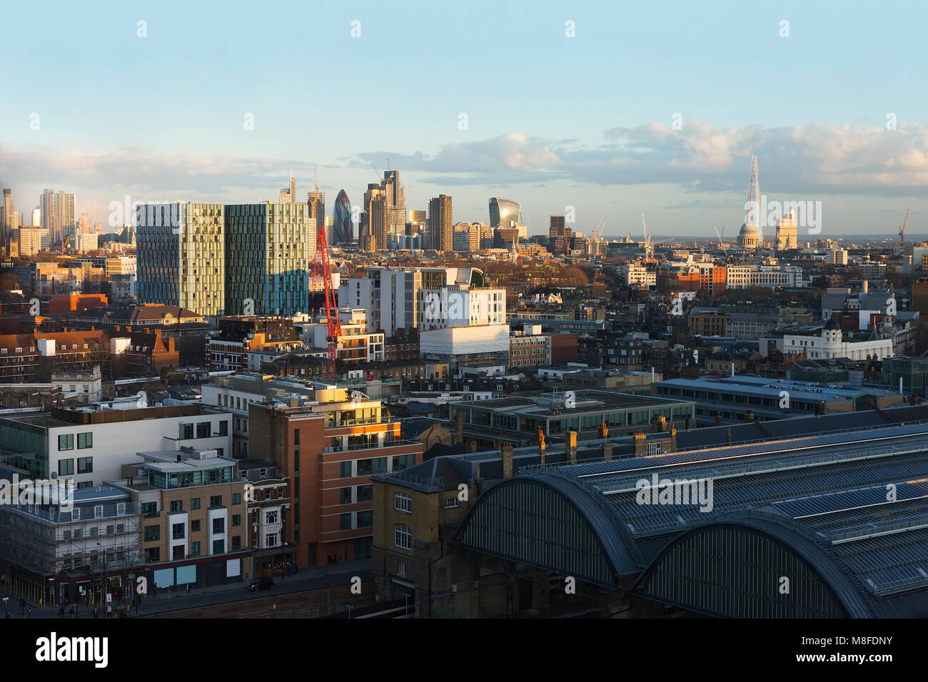 High Viewpoint of the City of London from King's Cross on a clear sunny evening in March 2018 - Stock Image