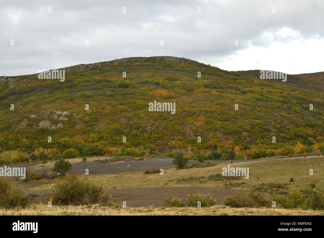 Beautiful Mountain Range And Field Of Segovia. Landscapes Holidays Travel October 21, 2017. Becerril Segovia Castilla Stock Photo