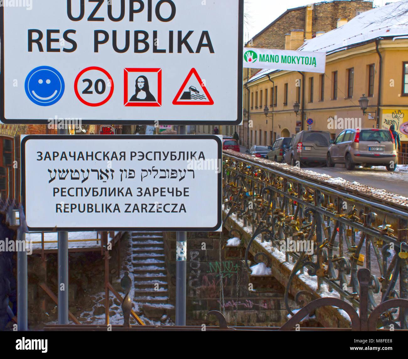VIlnius, Lithuania - January 05, 2017: Entrance sign to the Republic of Uzupis, a bohemic neighborhood in Vilnius - Stock Image