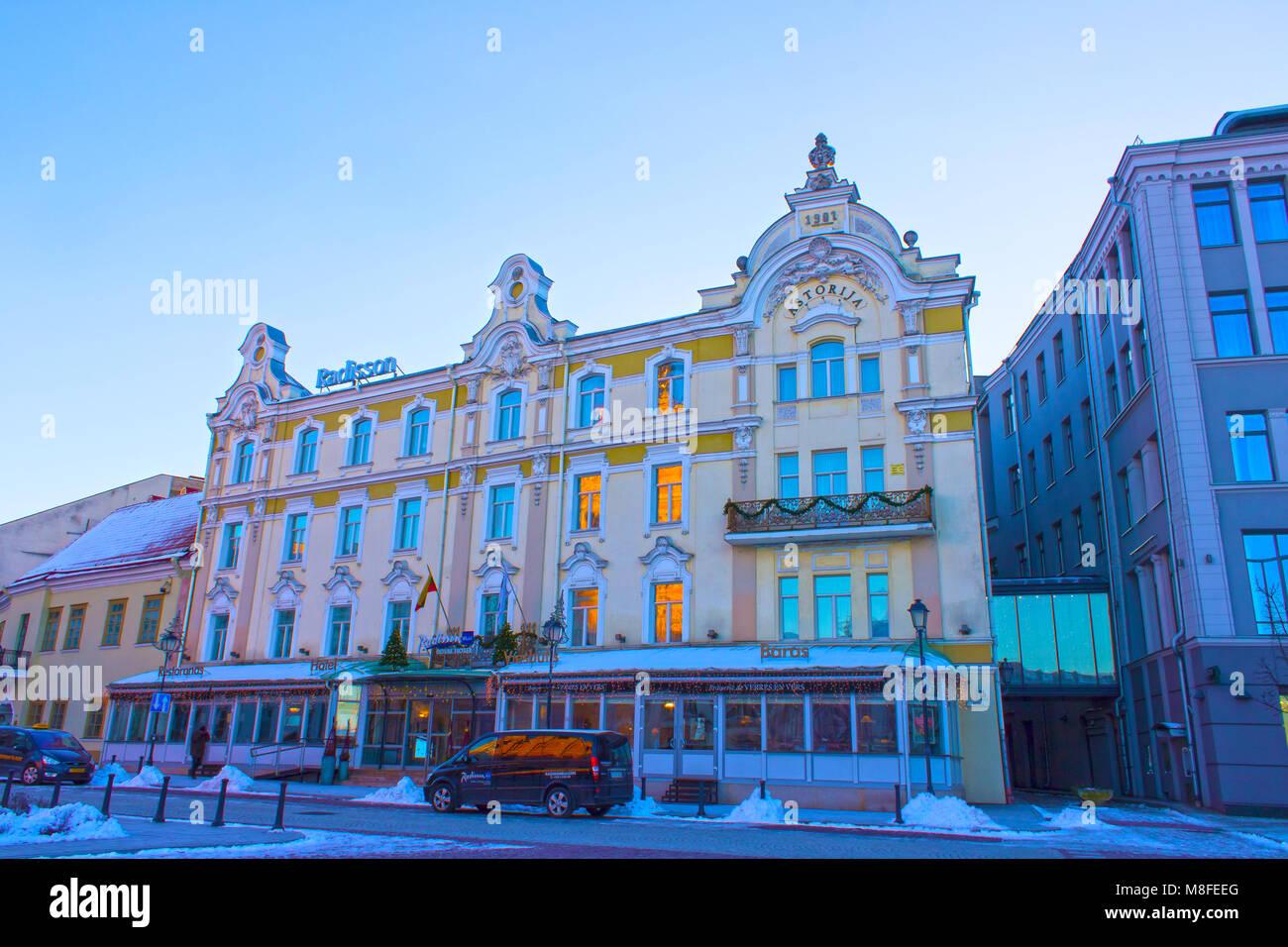 VIlnius, Lithuania - January 05, 2017: The Astorija Hotel in Vilnius, Lithuania. Radisson Blu Hotels Resorts, part - Stock Image