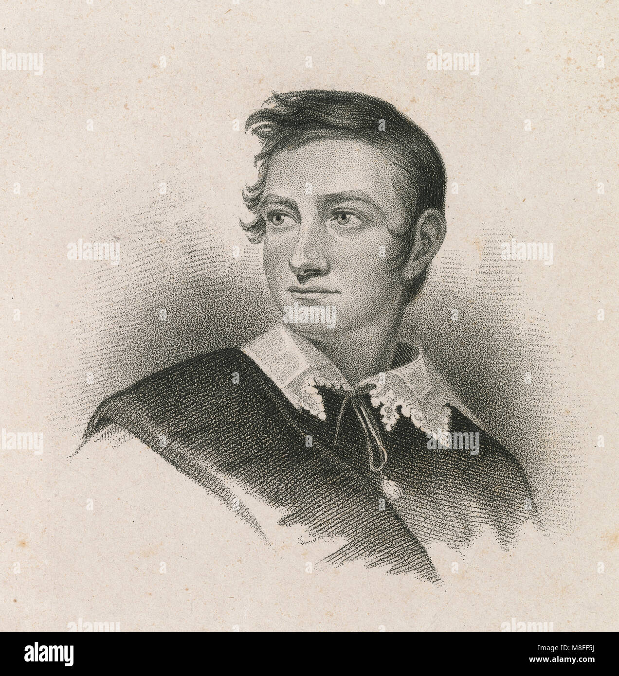Antique c1830 engraving, John Howard Payne (June 9, 1791 – April 10, 1852) was an American actor, poet, playwright, - Stock Image