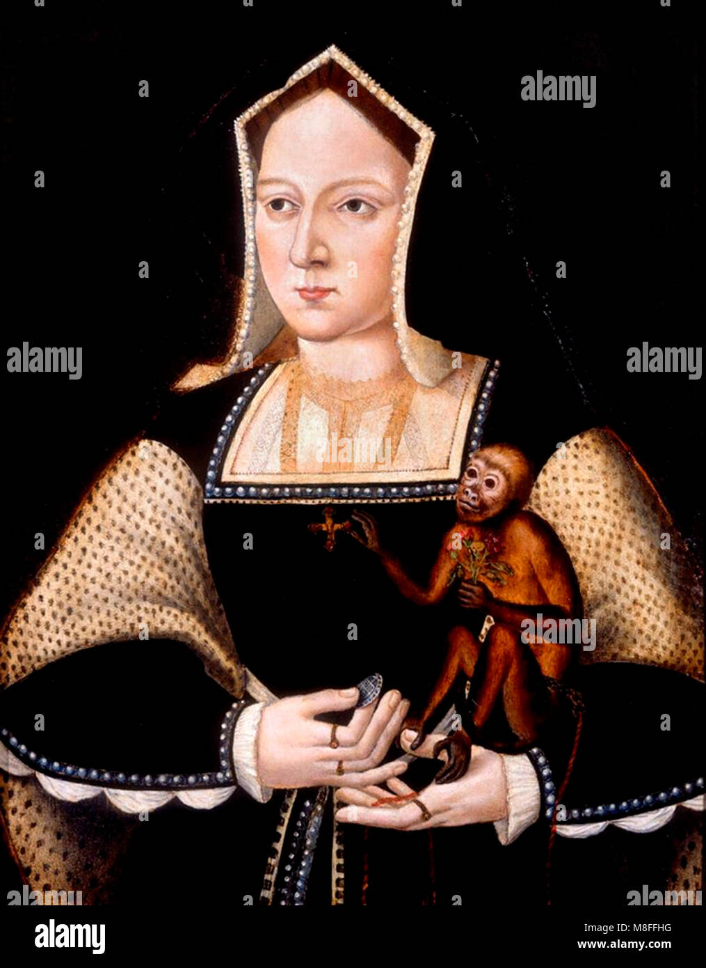 Catherine of Aragon. Portrait of the first wife of King Henry VIII of England holding a monkey, painting by Lucas - Stock Image