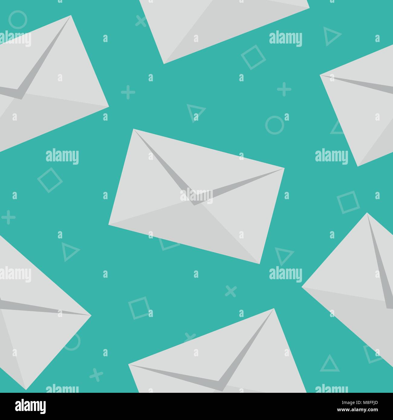 Mail pattern seamless blue. vector pattern seamless geometric repeat background - Stock Image