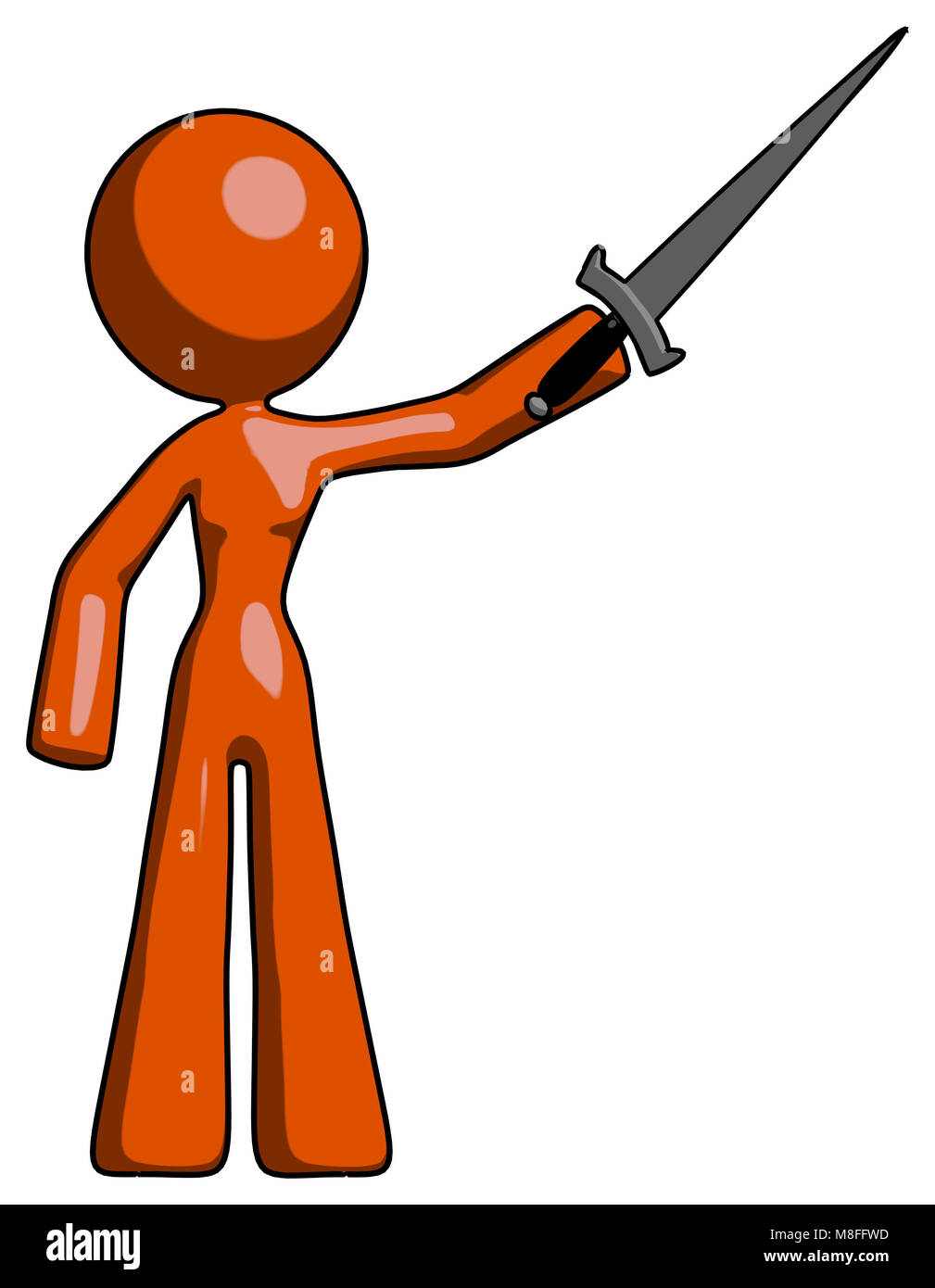 Orange design mascot woman holding sword in the air victoriously. Stock Photo