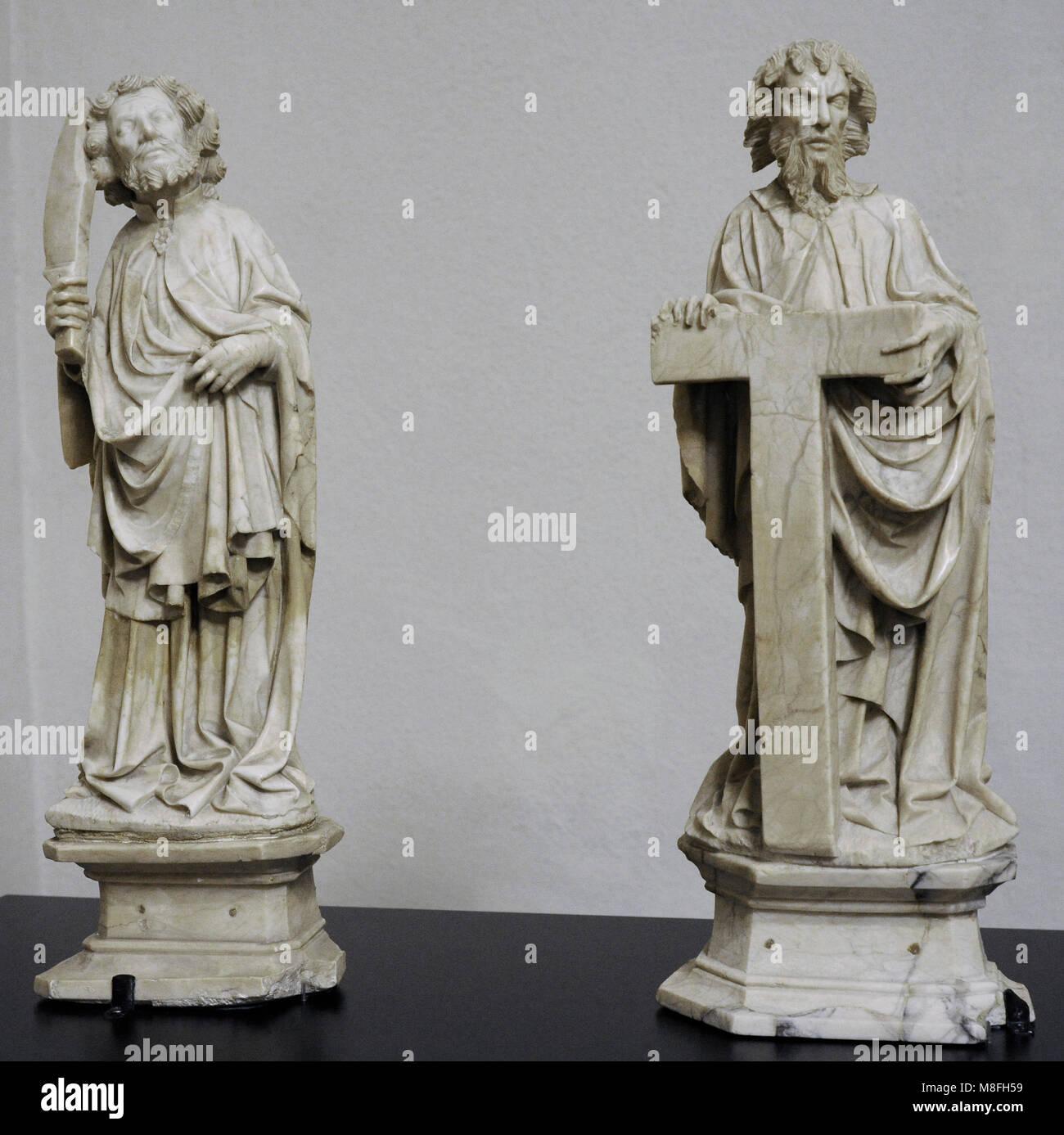 Saint Philip and Saint Bartholomew. Master of the Rimini Altar, c. 1420. Southern Netherlands. Alabaster. Schnütgen - Stock Image