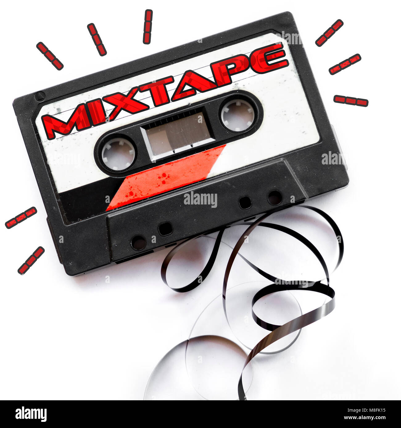 mixtape audio tape label red playlist background - Stock Image
