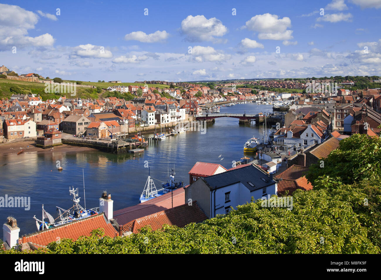 Whitby harbour on River Esk North Yorkshire - Stock Image