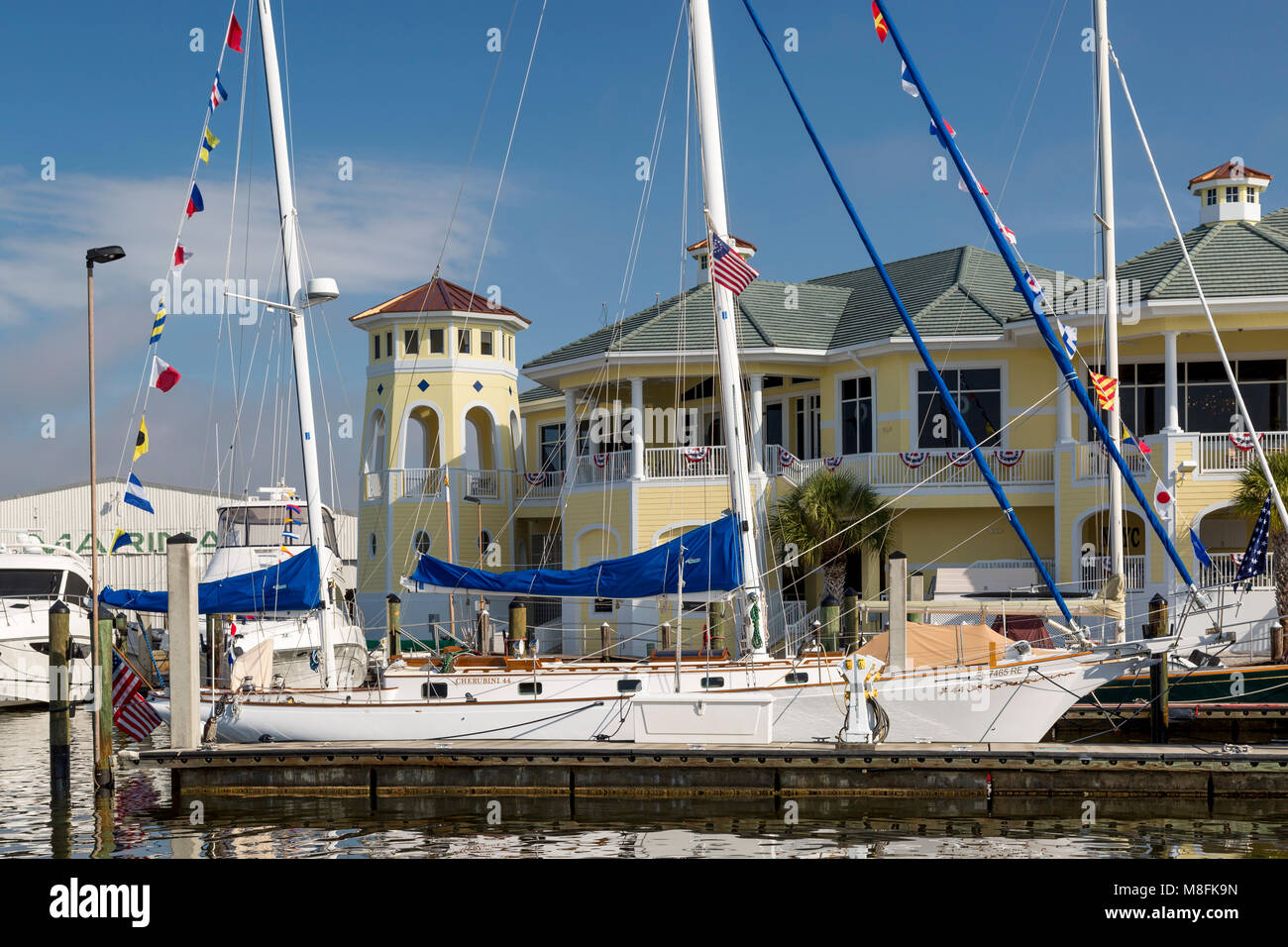 Yachts docked at Naples Sailing and Yacht Club, Naples