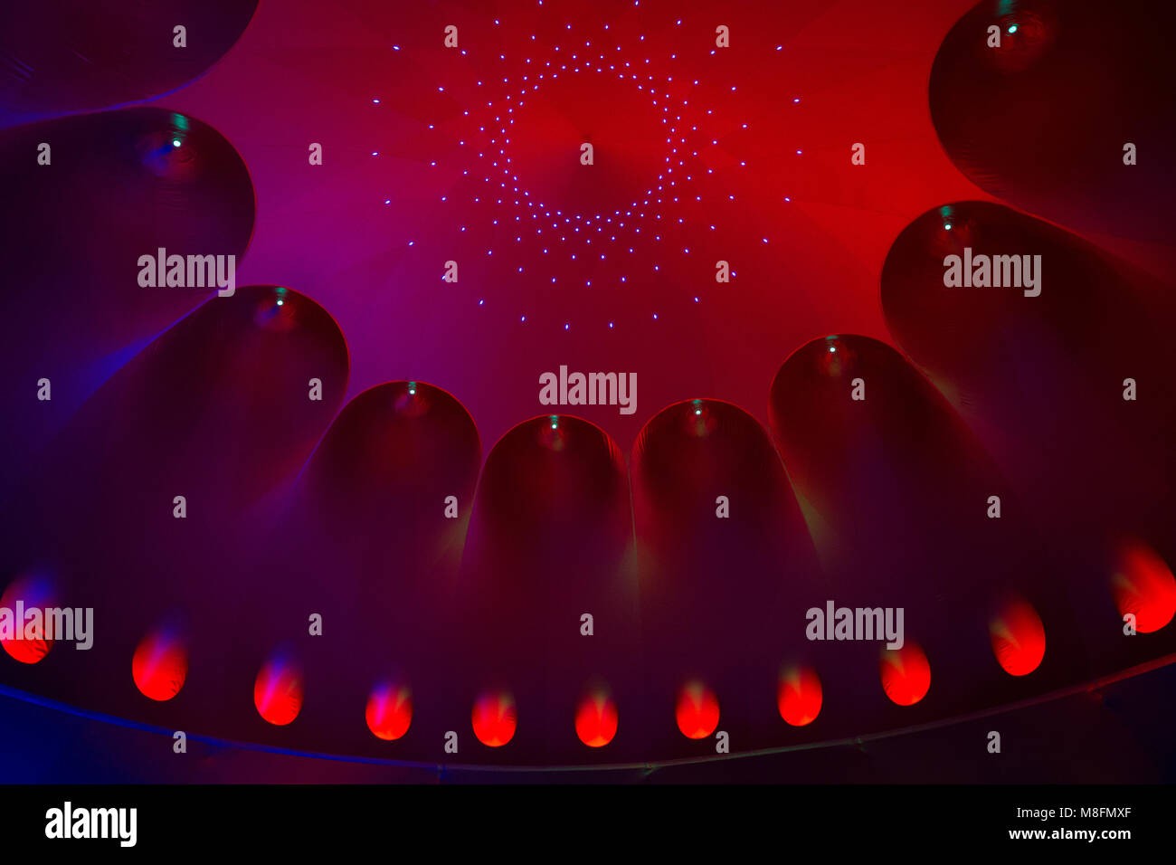 Artistic installation 'Architects of air' on 'Spancirfest' festival in town Varazdin, Croatia - Stock Image