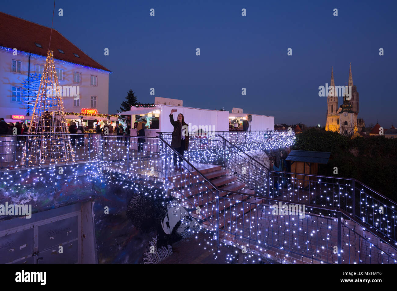 Klovicevi Dvori gallery decorated for the Advent in town Zagreb, Croatia Stock Photo
