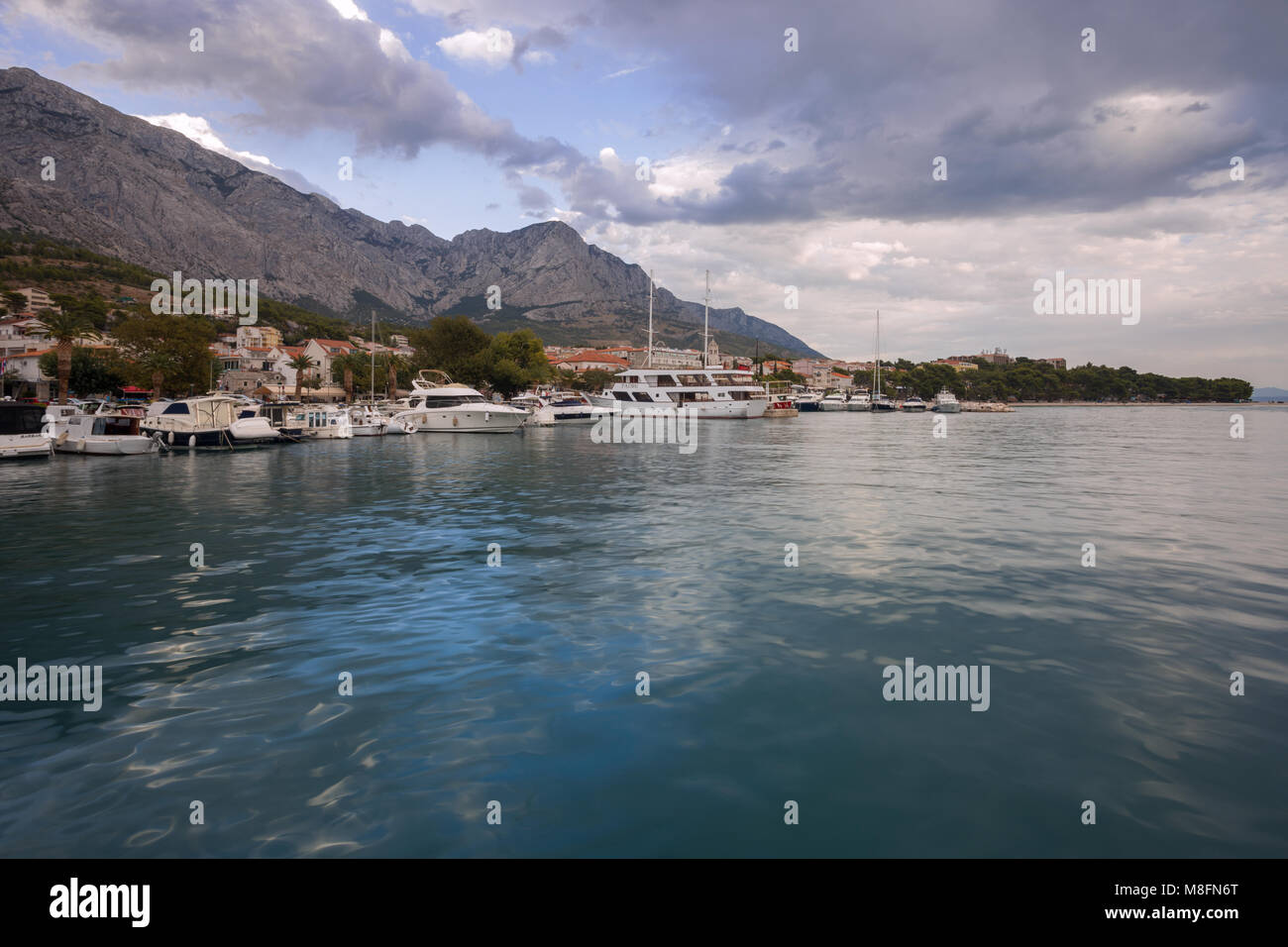 A view on a small town Baska Voda, Dalmatia, Croatia - Stock Image