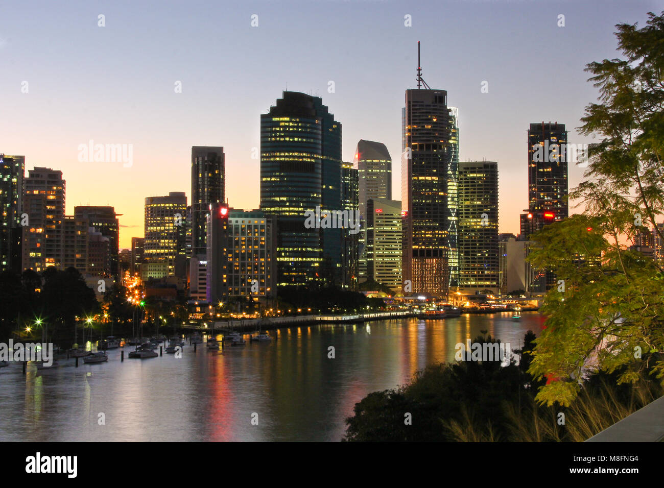 Brisbane city photographed from kangaroo's point on the Brisbane river - Stock Image