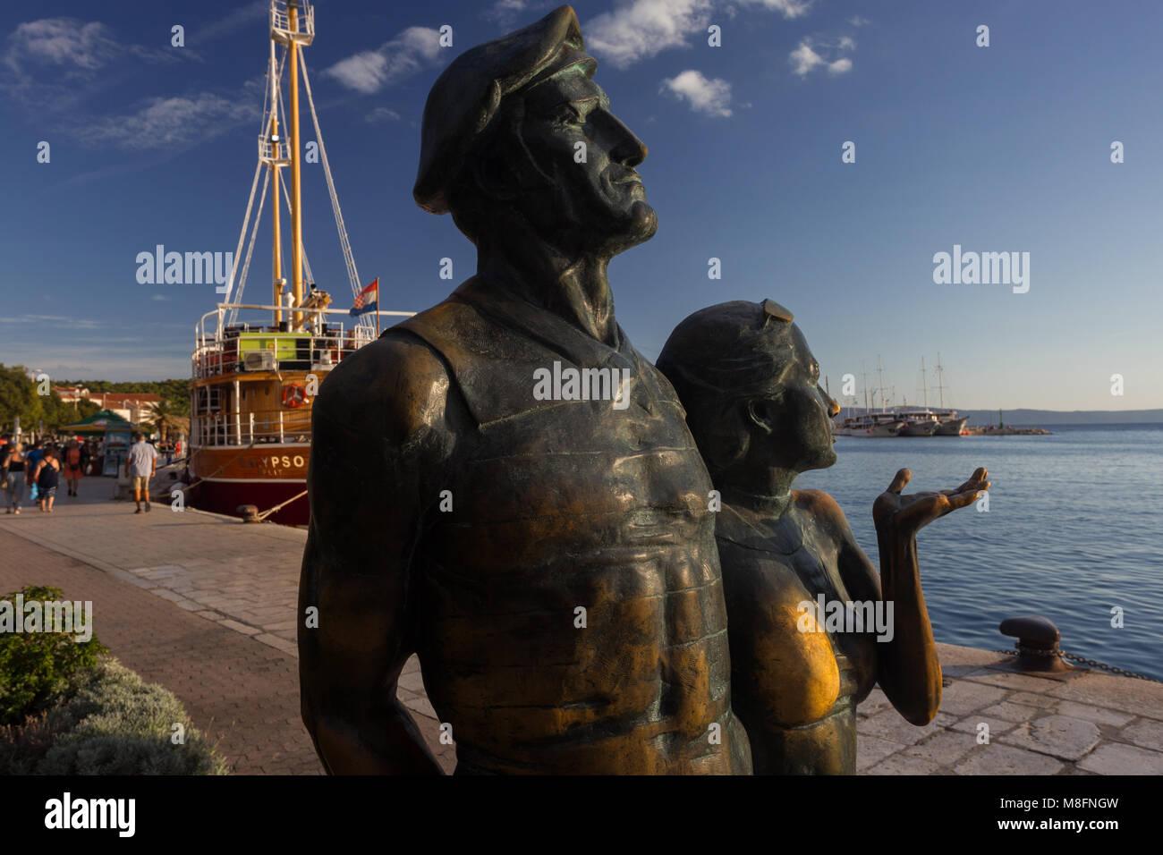 Monument of a tourist in town Makarska, Dalmatia, Croatia Stock Photo