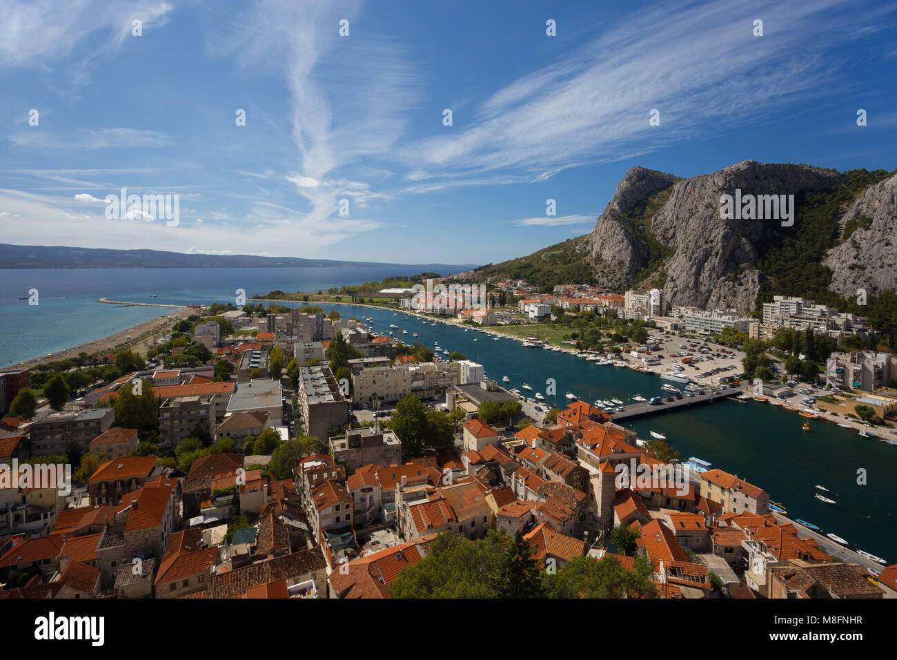 Omis town and river Cetina delta by day, Croatia - Stock Image