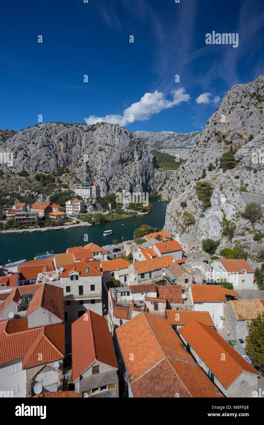 Omis town and the doors of river Cetina by day, Croatia - Stock Image