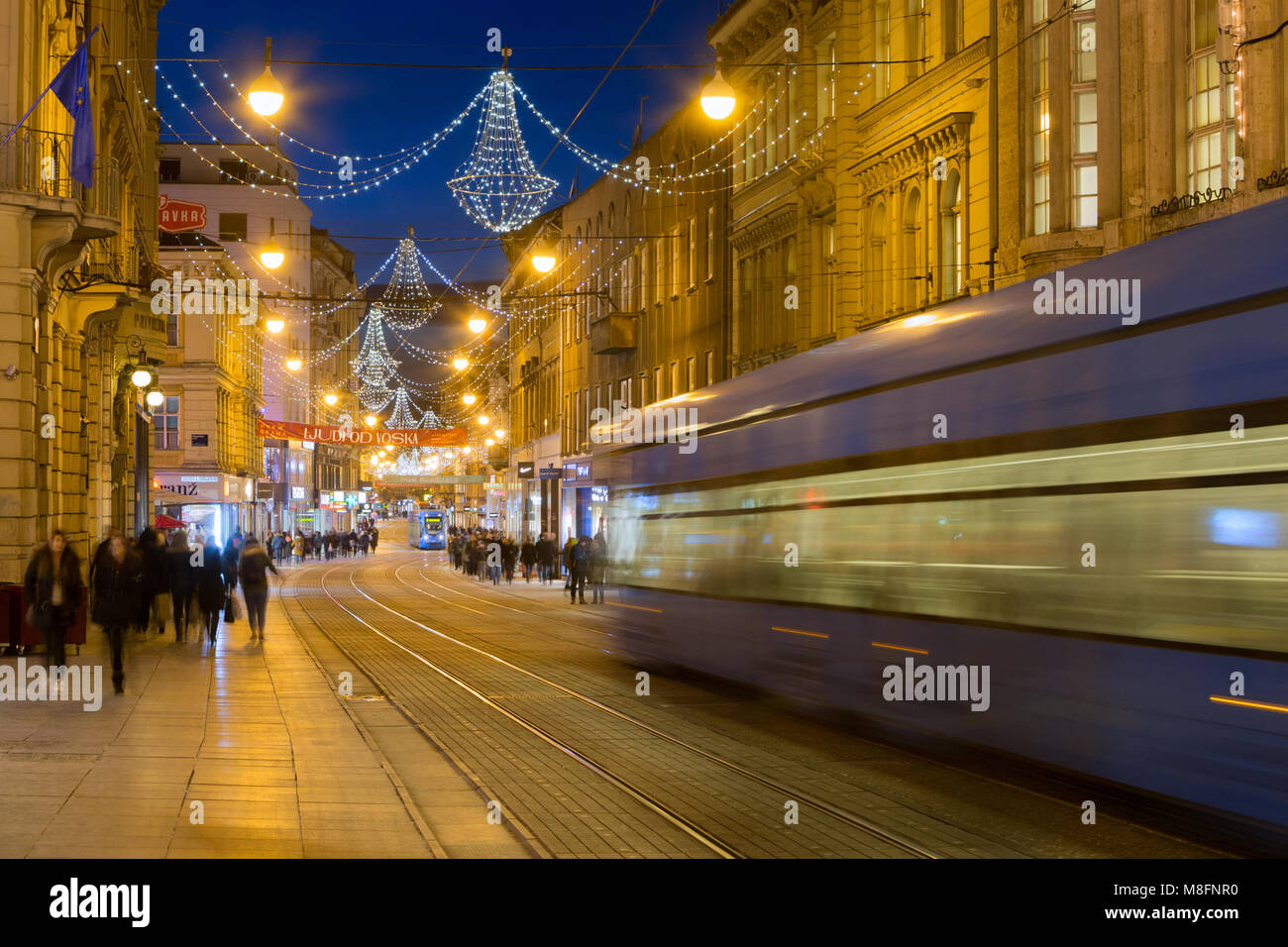 Main street in the city Zagreb decorated during the Advent, Croatia - Stock Image