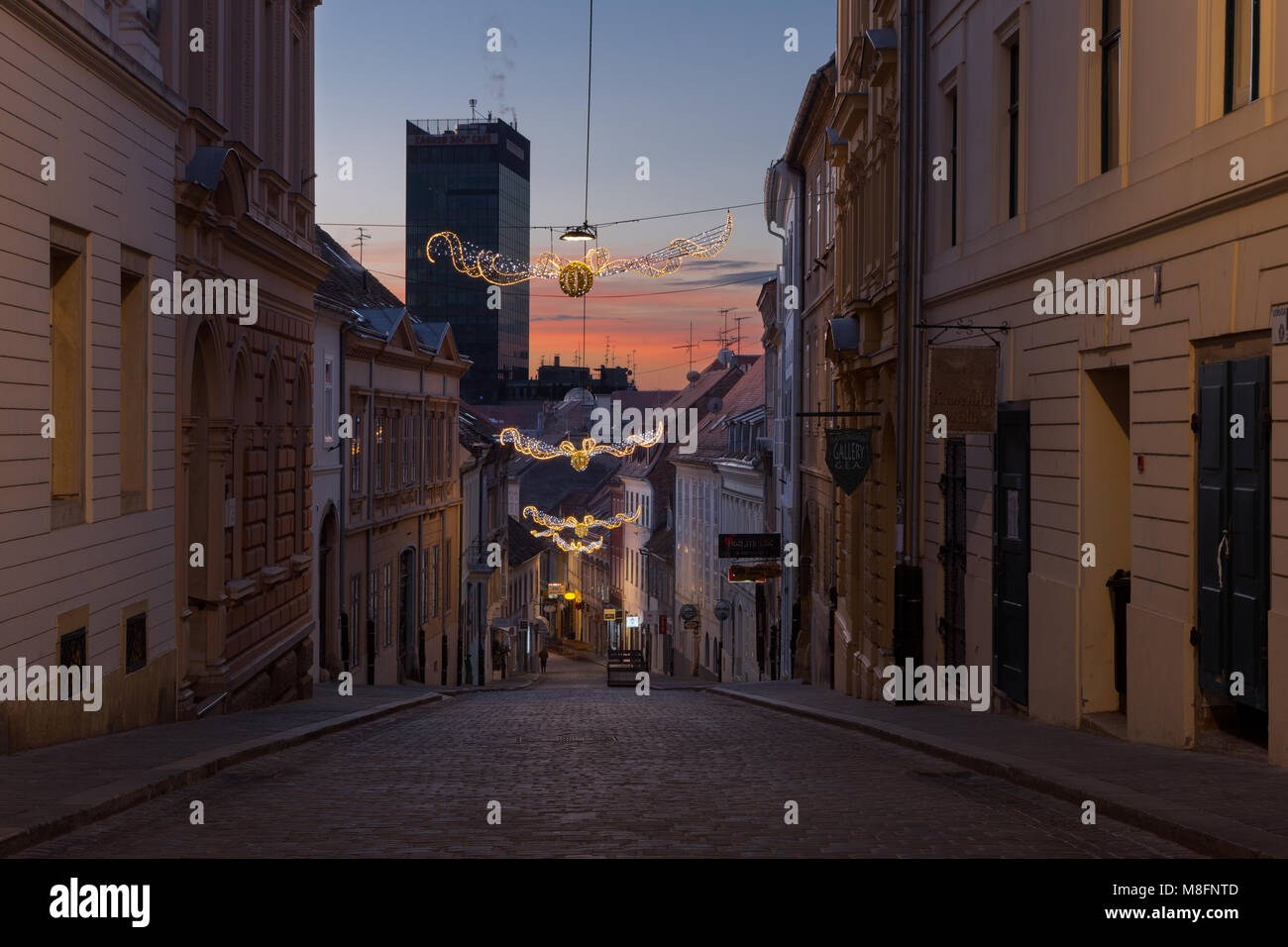 Street in old town Zagreb decorated for the advent, Croatia - Stock Image