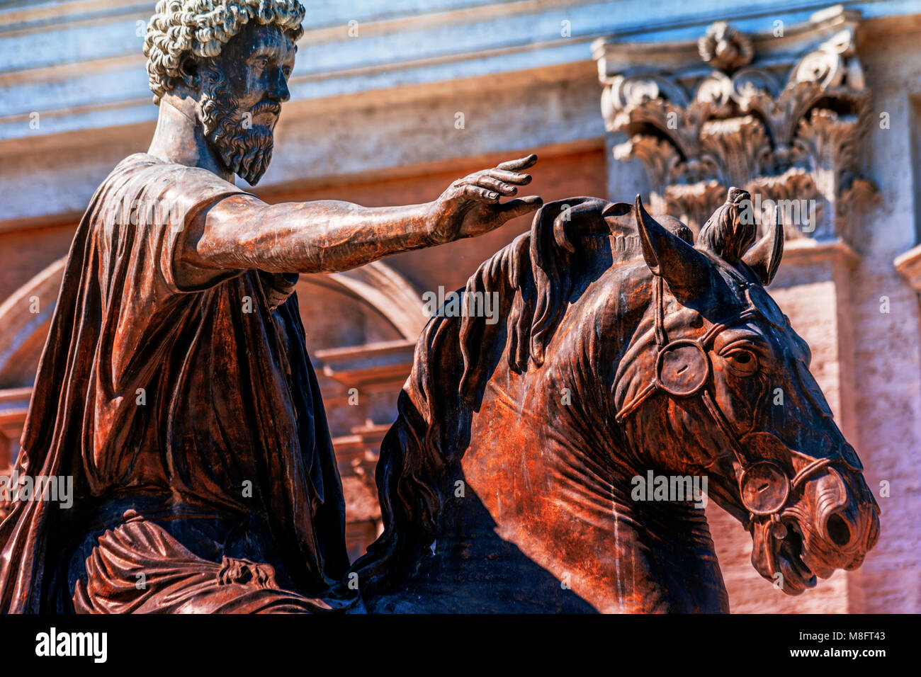 Equestrian Statue of Marcus Aurelius the Roman Emperor and stoic philosopher with detail of horse with bridle in - Stock Image