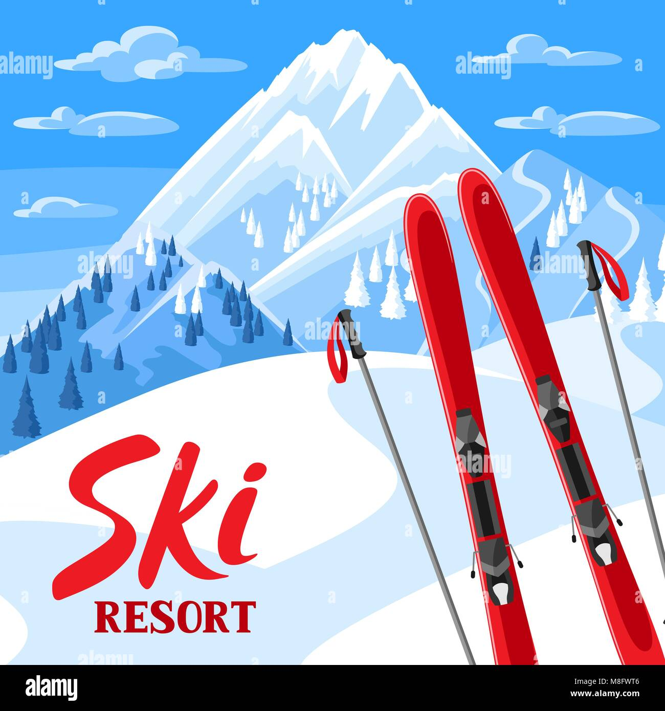 Winter landscape with skiing equipment. Snowy mountains and fir forest Stock Vector
