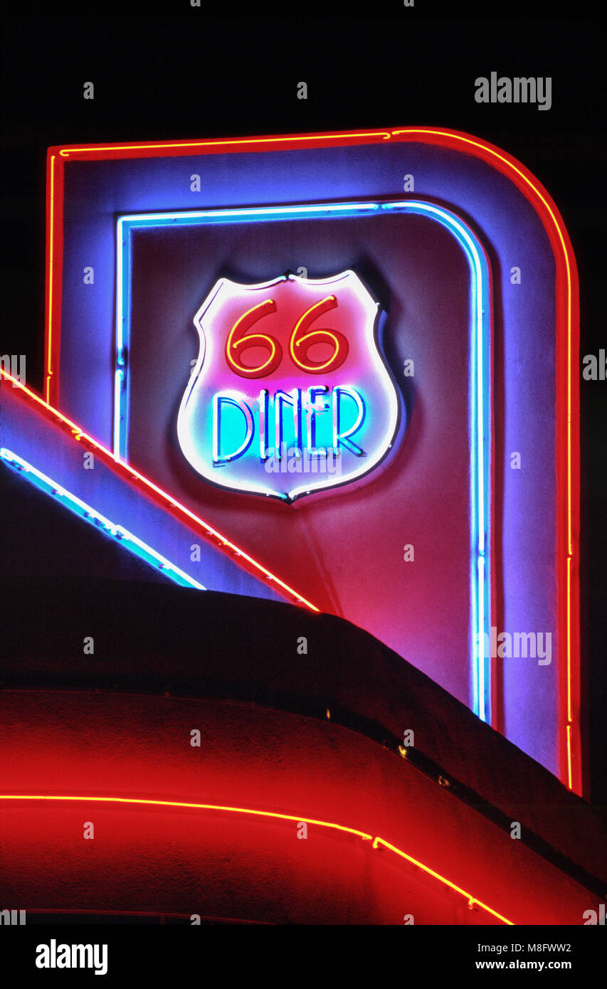 66 Diner neon sign, at night, Route 66, E.Central Ave, Nob Hill area in Albuquerque, New Mexico, USA - Stock Image