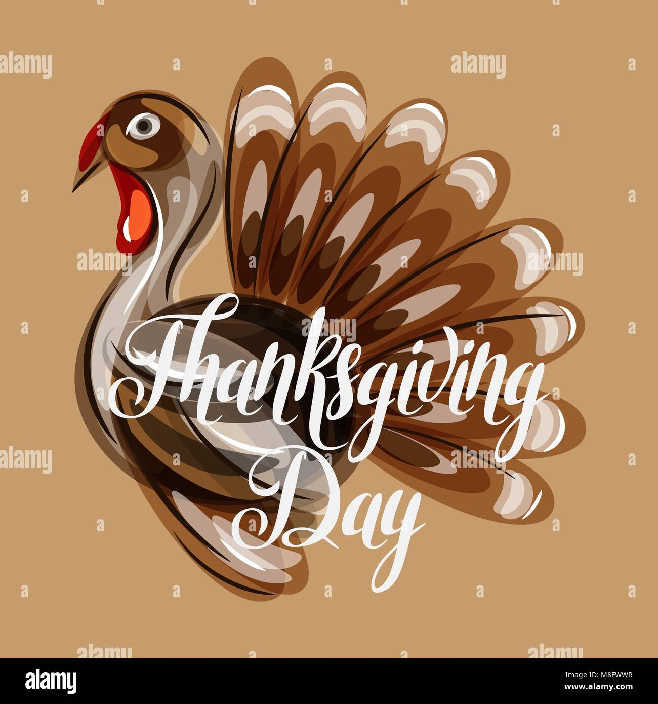 Happy Thanksgiving Day greeting card with abstract turkey - Stock Vector