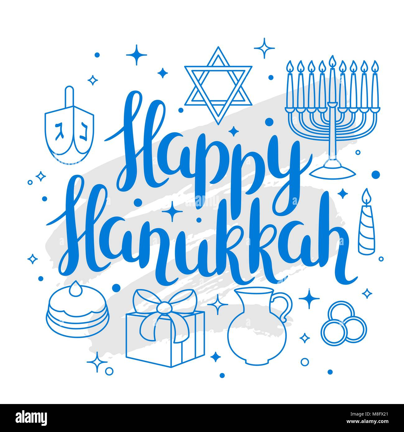 Happy Hanukkah celebration card with holiday objects - Stock Image