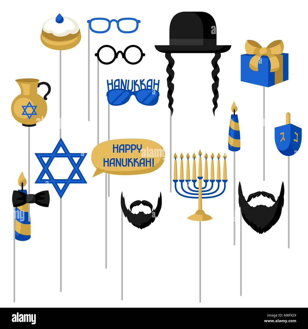 Happy Hanukkah photo booth props. Accessories for festival and party - Stock Image